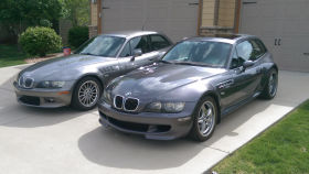 2001 Sterling Gray over Black Z3 Coupe and 2002 Steel Gray over Imola Red M Coupe