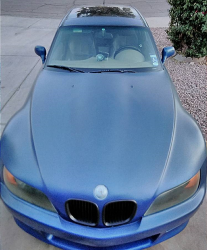 2001 BMW Z3 Coupe in Topaz Blue Metallic over E36 Sand Beige